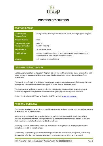 position description - Mallee Accommodation and Support Program