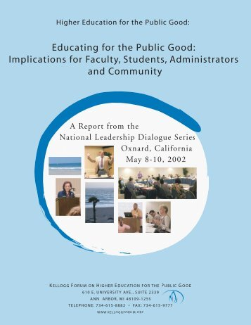 The National Forum on Higher Education for the Public Good