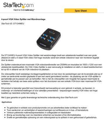 4-poort VGA Video Splitter met Wandmontage StarTech ID ...