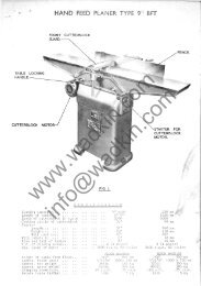 (9 inch) Surfacer Manual and Parts List - Wadkin