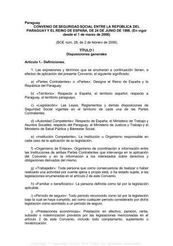 Paraguay CONVENIO DE SEGURIDAD SOCIAL ENTRE LA ...