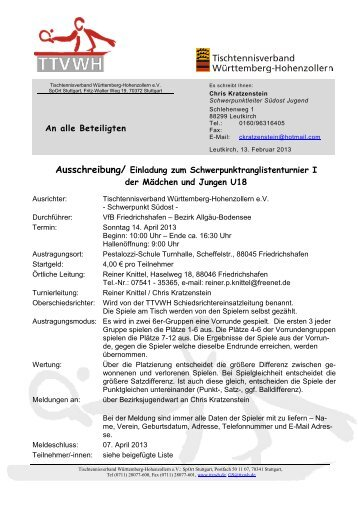 Ausschreibung U18 - TTVWH Bezirk Allgäu-Bodensee