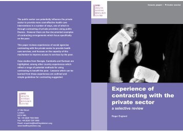 Experiences of contracting with the private sector:a selective review