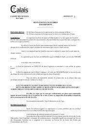 CAISSE DES ECOLES NOTICE N° 1 De Calais RESTAURANTS ...
