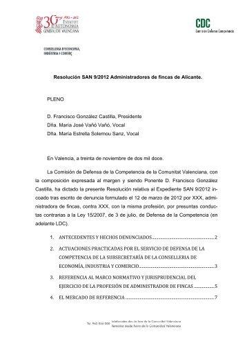 Resolución SAN 9/2012 Administradores de fincas de Alicante ...