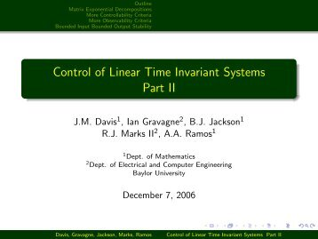 Control of Linear Time Invariant Systems Part II - Robert Marks.org