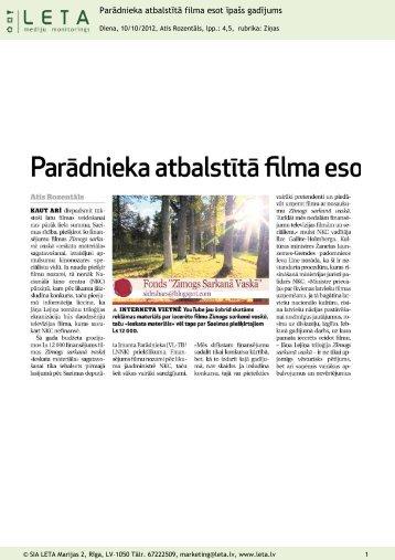 """""""Parādnieka atbalstītā filma esot īpašs gadījums"""", Diena, 10.10.2012."""