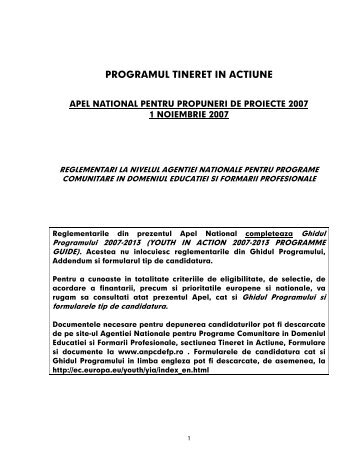 programul tineret in actiune - ANPCDEFP