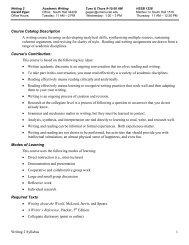 Writing 2 Syllabus 1 Course Catalog Description A ... - Writing Program