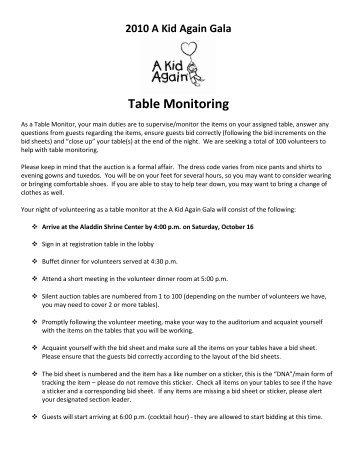 Table Monitoring - A Kid Again