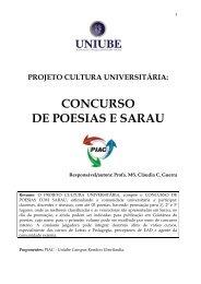 projeto cultura universitária: concurso de poesias e sarau - Uniube