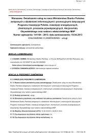 Warszawa: Świadczenie usług na rzecz Ministerstwa Skarbu ...