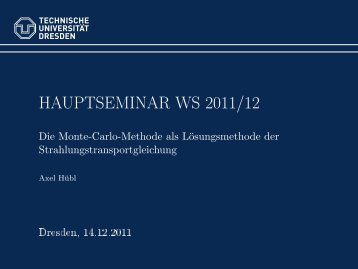 Hauptseminar WS 2011/12 - Die Monte-Carlo-Methode als ...