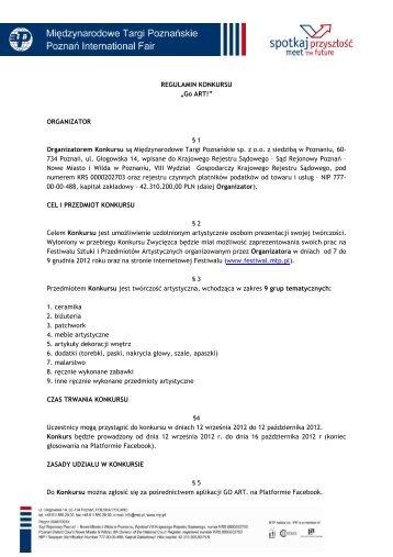 Regulamin - Festiwal Sztuki i Przedmiotów Artystycznych