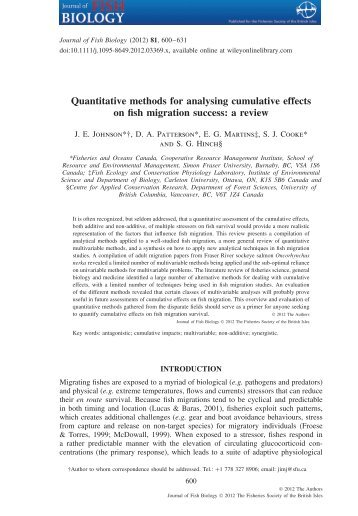 Quantitative methods for analysing cumulative effects on fish ...
