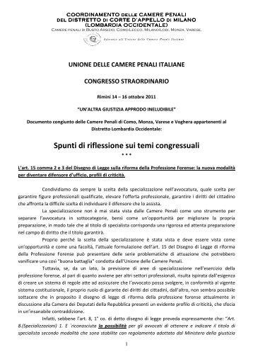 Spunti di riflessione sui temi congressuali - Camerapenaledimonza.it