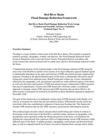 Red River Basin Flood Damage Reduction Framework