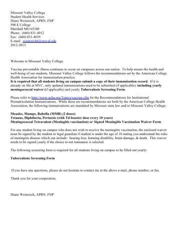 Student Health Information - Missouri Valley College