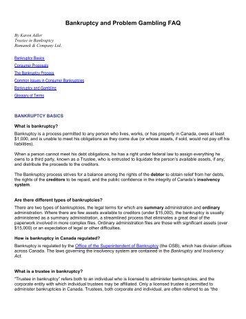 Bankruptcy and Problem Gambling FAQ - ProblemGambling.ca