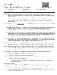 Example Problems - Avon Chemistry