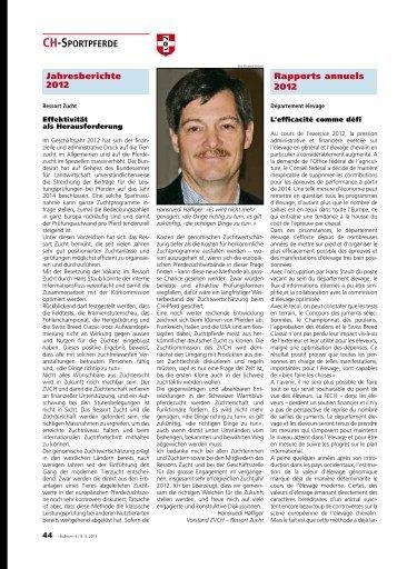 Jahresberichte 2012 - Zuchtverband CH Sportpferde