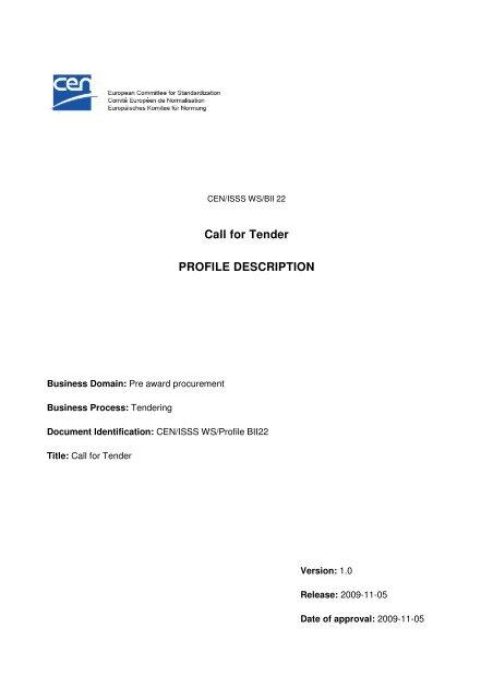Call for Tender PROFILE DESCRIPTION - CEN/BII