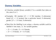 Regression Models with Dummy Variables