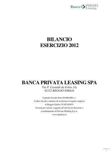 Fascicolo Bilancio 2012_Banca Privata Leasing_last - Assilea