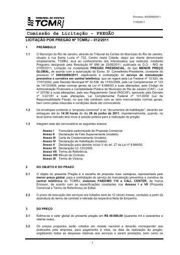 Comissão de Licitação - PREGÃO - Tribunal de Contas do ...