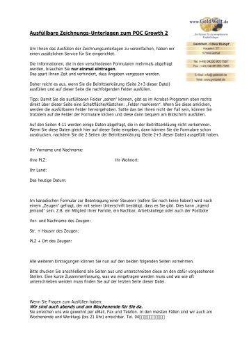 Zeichnungs-Unterlagen komplett als ausfüllbare PDF ... - GeldWelt.de