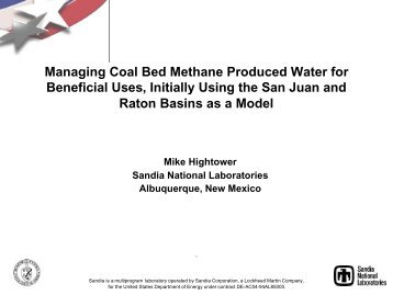 Managing Coal Bed Methane Produced Water for Beneficial Uses ...