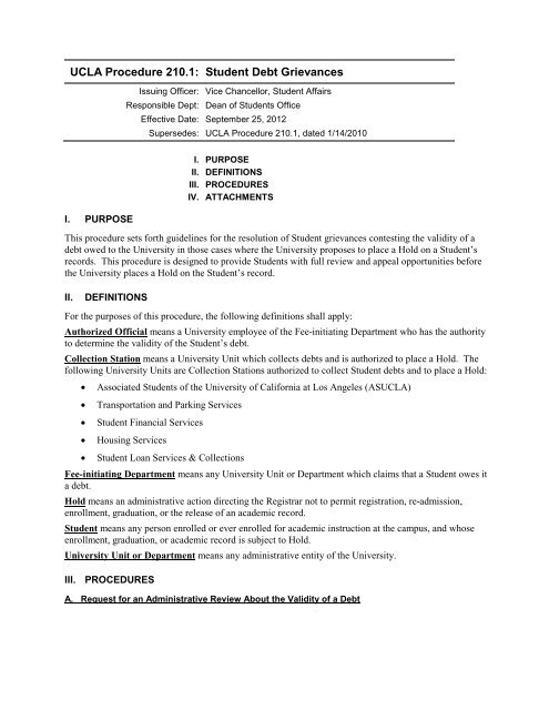 UCLA Procedure 210.1: - UCLA Admin Policies & Procedures