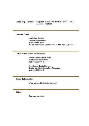 RIOTUR Diretor - Presidente Matr. 66/560.976 - Tribunal de Contas ...