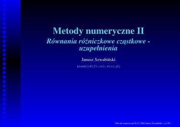 Metody numeryczne II Równania ró˙zniczkowe cz ... - Panoramix