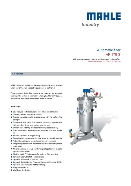 Automatic filter AF 179 S - MAHLE Industry - Filtration