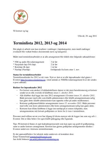 Terminlista 2012, 2013 og 2014 - Norges Orienteringsforbund