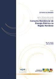 Consumo Residencial de Energia Elétrica na Região Nordeste - EPE