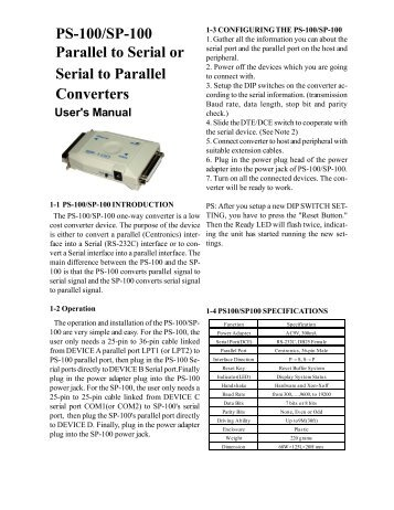PS-100/SP-100 Parallel to Serial or Serial to Parallel Converters