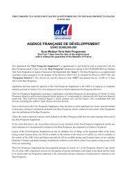 EMTN Supplement - Agence Française de Développement