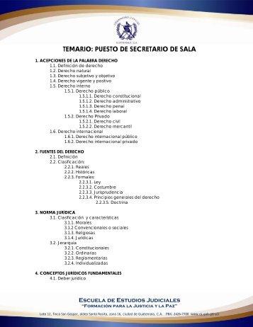 TEMARIO: PUESTO DE SECRETARIO DE SALA - Organismo Judicial