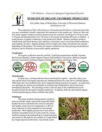 current status of organic cranberry production - Center for Integrated ...