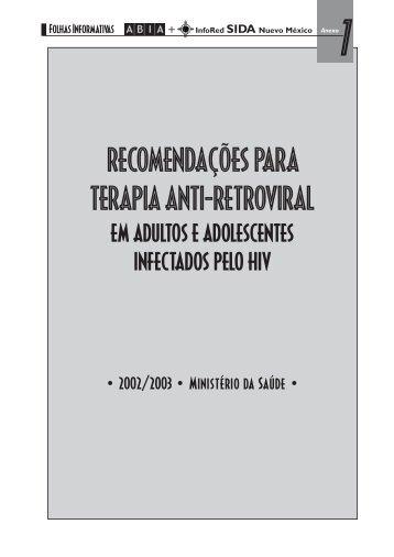 RECOMENDAÇÕES PARA TERAPIA ANTI-RETROVIRAL - Abia