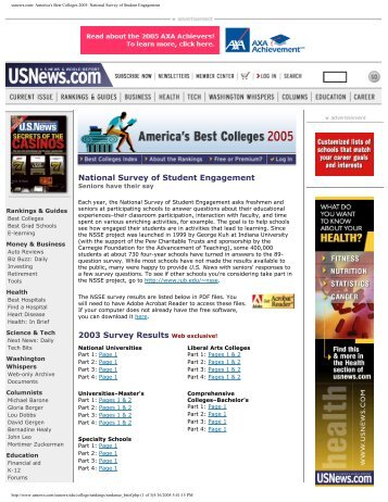 usnews.com: America's Best Colleges 2005: National ... - NSSE