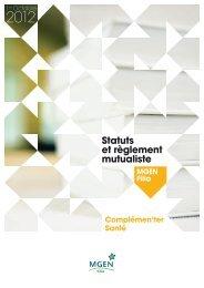 Les statuts et règlement mutualiste Complémen'Ter Santé - Mgen