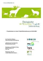 Projektskizze - Das Projekt Ökologischer Korridor Südbrandenburg
