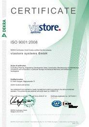 ISO 9001: 2008 - viastore