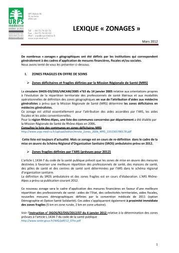 Lexique zonagesV3 mars 2012 - L'Union Régionale des ...