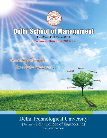 MBA 2011-13 Placement Brochure - Delhi School of Management