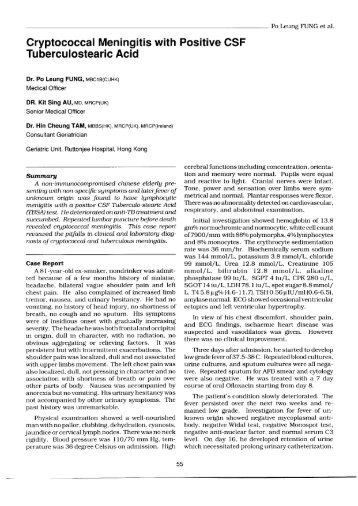Cryptocococcal Meningitis with Positive CSF Tuberculostearic Acid