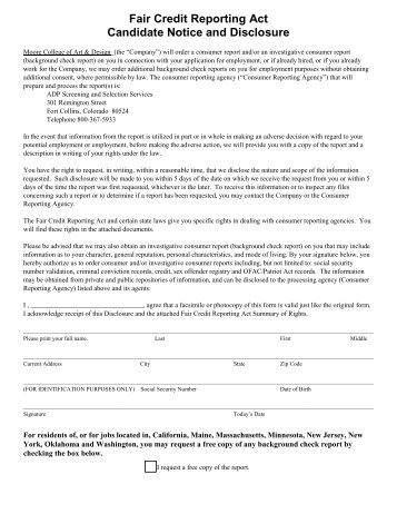 Background Check - Applicant Disclosure - Moore College of Art ...